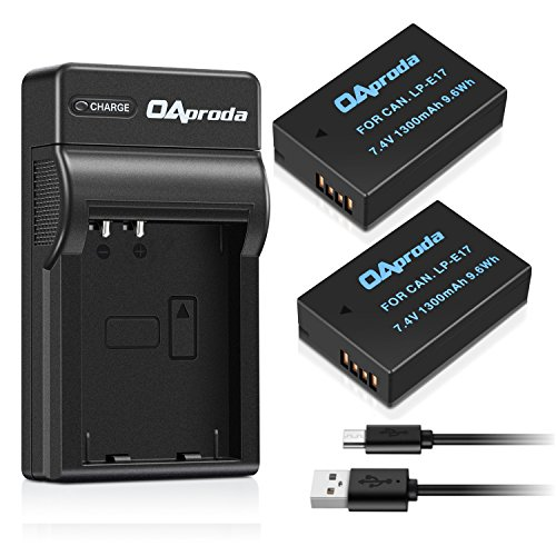 OAproda New Upgraded LP-E17 Battery 2 Pack and Slim Micro USB Charger for Canon Rebel T6i, Rebel T6s, Rebel T7i, EOS 77D ,EOS 750D, EOS 760D, EOS 8000D, ...